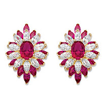 Oval and Marquise-Cut Created Red Ruby and Cubic Zirconia Floral Earrings 8.84 TCW 14k Gold-Plated