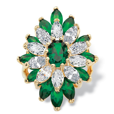 Oval and Marquise-Cut Simulated Emerald and Cubic Zirconia Ring 9.26 TCW 14k Yellow Gold-Plated at PalmBeach Jewelry