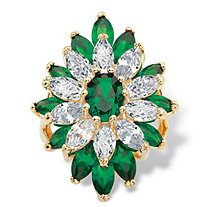 Oval and Marquise-Cut Simulated Emerald and Cubic Zirconia Ring 9.26 TCW 14k Yellow Gold-Plated