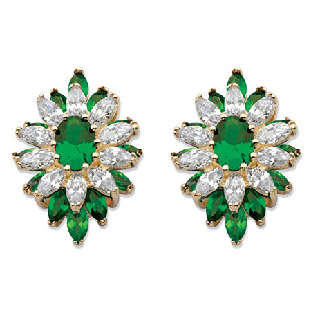 Oval and Marquise-Cut Simulated Emerald and Cubic Zirconia Floral Earrings 3 TCW 14k Gold-Plated at PalmBeach Jewelry
