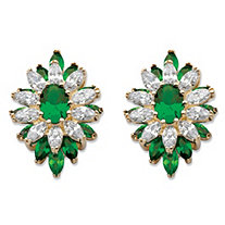 Oval and Marquise-Cut Simulated Emerald and Cubic Zirconia Floral Earrings 3 TCW 14k Gold-Plated