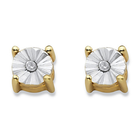 Round Diamond Accent Stud Earrings 14k Gold-Plated (4mm) at PalmBeach Jewelry