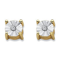 Round Diamond Accent Stud Earrings 14k Gold-Plated (4mm)