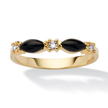Marquise-Shaped Genuine Black Onyx Crystal Accent 14k Yellow Gold-Plated Ring at PalmBeach Jewelry