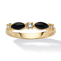 Marquise-Shaped Genuine Black Onyx Crystal Accent 14k Yellow Gold-Plated Ring