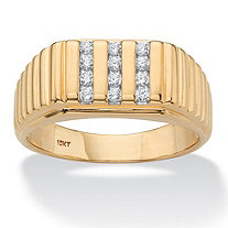 SETA JEWELRY Men's Round Diamond Triple-Row Ribbed Ring 1/4 TCW in Solid 10k Yellow Gold