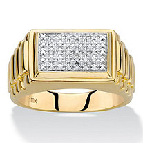 Men's Round Diamond Rectangle Grid Ring 1/10 TCW in Solid 10k Yellow Gold