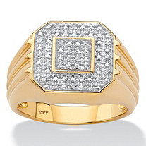 Men's Round Diamond Ribbed Octagon Ring 1/10 TCW in Solid 10k Yellow Gold
