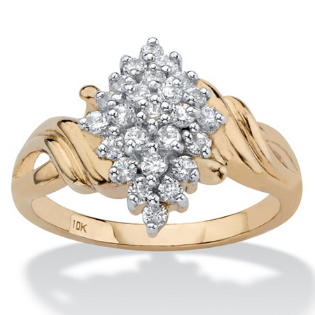 Round Diamond Cluster Swirl Ring 1/2 TCW in Solid 10k Yellow Gold at PalmBeach Jewelry