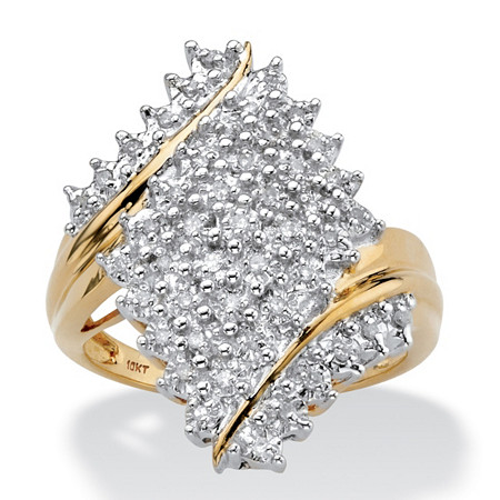 Round Diamond Cluster Bypass Ring 1/4 TCW in Solid 10k Yellow Gold at PalmBeach Jewelry