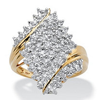 Round Diamond Cluster Bypass Ring 1/4 TCW in Solid 10k Yellow Gold
