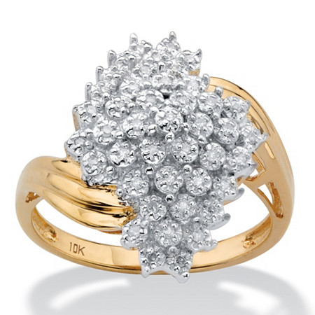 Round Diamond Cluster Bypass Ring 1/10 TCW in Solid 10k Yellow Gold at PalmBeach Jewelry