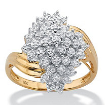 Round Diamond Cluster Bypass Ring 1/10 TCW in Solid 10k Yellow Gold