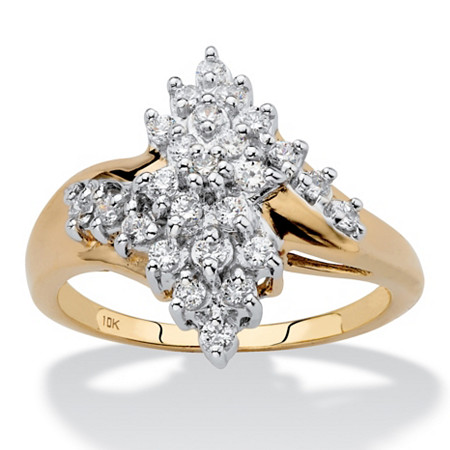 Round Diamond Cluster Bypass Ring 1/2 TCW in Solid 10k Yellow Gold at PalmBeach Jewelry