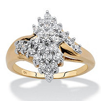 Round Diamond Cluster Bypass Ring 1/2 TCW in Solid 10k Yellow Gold