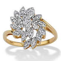Round Diamond Bypass Cluster Leaf Ring 1/10 TCW in Solid 10k Yellow Gold