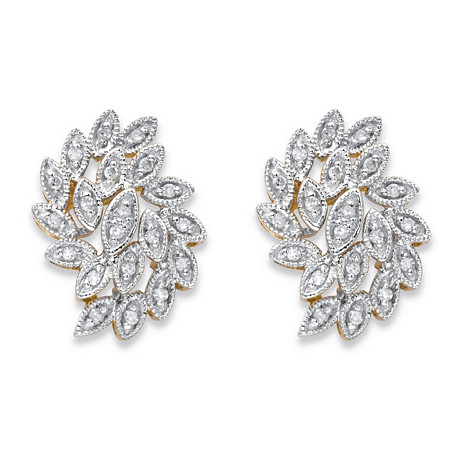 Round Diamond Cluster Leaf Stud Earrings 1/10 TCW in Solid 10k Yellow Gold at PalmBeach Jewelry