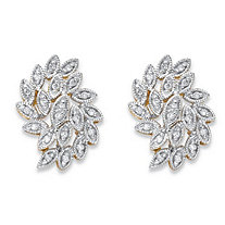 Round Diamond Cluster Leaf Stud Earrings 1/10 TCW in Solid 10k Yellow Gold