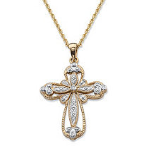 Round Diamond Milgrain Cross Pendant Necklace 1/10 TCW in Solid 10k Yellow Gold 18""
