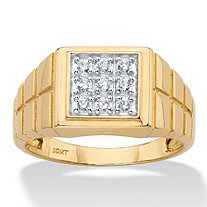 Men's Round Diamond Textured Square Grid Ring 1/4 TCW in Solid 10k Yellow Gold