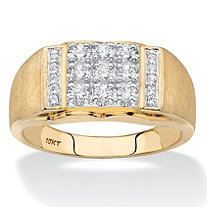 Men's Round Diamond Rectangle Brushed Matte Grid Ring 1/2 TCW in Solid 10k Yellow Gold