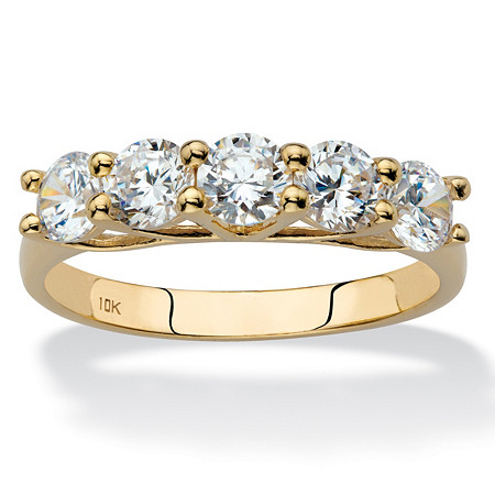 Round Cubic Zirconia Single Row Ring Band 1.25 TCW in Solid 10k Yellow Gold at PalmBeach Jewelry