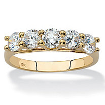 SETA JEWELRY Round Cubic Zirconia Single Row Ring Band 1.25 TCW in Solid 10k Yellow Gold