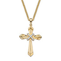 Diamond Accent Cross Pendant Necklace 14k Gold-Plated 22