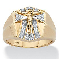 SETA JEWELRY Men's Round Diamond Crucifix Ring 1/3 TCW in 18k Gold over Sterling Silver