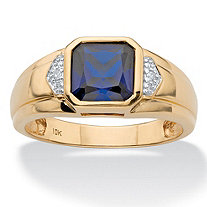SETA JEWELRY Men's Square-Cut Created Blue Sapphire and Diamond Accent Ring 2.30 TCW in Solid 10k Yellow Gold