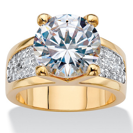 Round Cubic Zirconia Bridge Engagement Ring 6.96 TCW 14k Gold-Plated at PalmBeach Jewelry