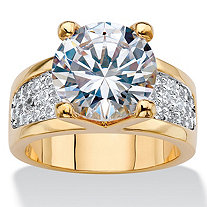 Round Cubic Zirconia Bridge Engagement Ring 6.96 TCW 14k Gold-Plated