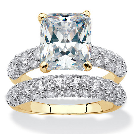 Emerald-Cut and Pave Cubic Zirconia 2-Piece Wedding Ring Set 6.50 TCW 14k Gold-Plated at PalmBeach Jewelry