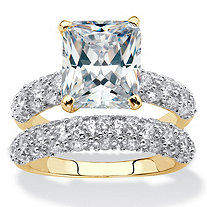 Emerald-Cut and Pave Cubic Zirconia 2-Piece Wedding Ring Set 6.50 TCW 14k Gold-Plated
