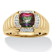 Men's Cushion-Cut Genuine Mystic Fire Topaz and Diamond Accent Ribbed Ring 2.62 TCW in Solid 10k Yellow Gold