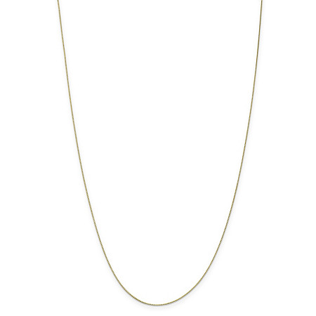 "Box-Link Chain Necklace in Solid 10k Yellow Gold 16"" (.5mm) at PalmBeach Jewelry"