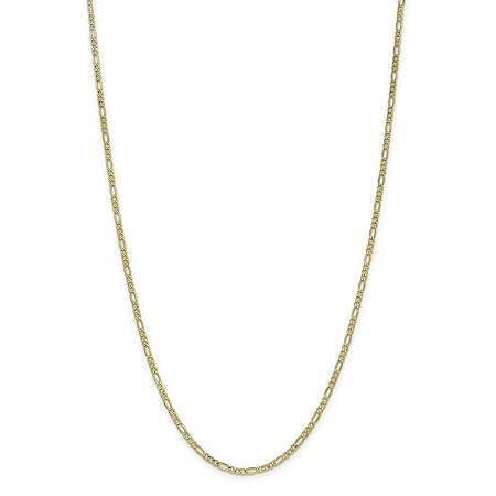 Figaro-Link Chain Necklace in 10k Yellow Gold 20