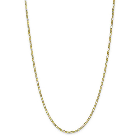 Figaro-Link Chain Necklace in 10k Yellow Gold 24