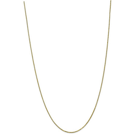 "Box-Link Chain Necklace in Solid 10k Yellow Gold 24"" (1.3mm) at PalmBeach Jewelry"