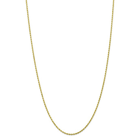 Rope Chain Necklace in Solid 10k Yellow Gold 16