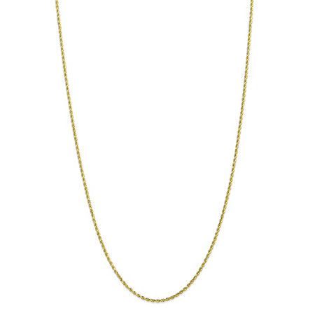 Rope Chain Necklace in Solid 10k Yellow Gold 22