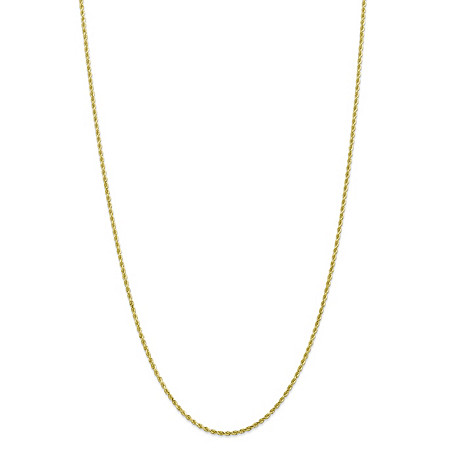 Rope Chain Necklace in Solid 10k Yellow Gold 24