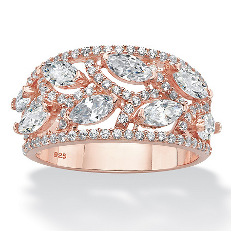 Marquise-Cut Cubic Zirconia Leaf Ring Band 2.67 TCW in Rose Gold Over Sterling Silver at PalmBeach Jewelry