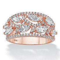 Marquise-Cut Cubic Zirconia Leaf Ring Band 2.67 TCW in Rose Gold Over Sterling Silver