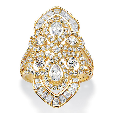 Pear-Cut Cubic Zirconia Cocktail Navette Ring 2.30 TCW in 14k Gold over Sterling Silver at PalmBeach Jewelry