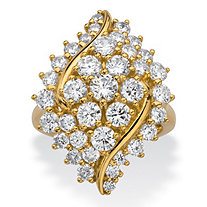 Round Cubic Zirconia Cluster Wave Ring 3.11 TCW 14k Gold-Plated