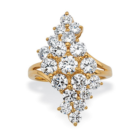 Round Cubic Zirconia Cluster Wave Ring 3.25 TCW 14k Gold-Plated at PalmBeach Jewelry