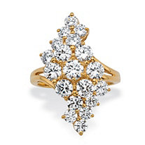Round Cubic Zirconia Cluster Wave Ring 3.25 TCW 14k Gold-Plated