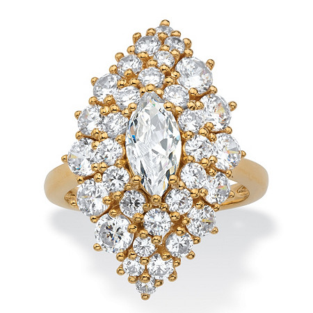 Marquise-Cut and Round Cubic Zirconia Floral Cluster Ring 3.46 TCW 14k Gold-Plated at PalmBeach Jewelry