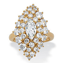 Marquise-Cut and Round Cubic Zirconia Floral Cluster Ring 3.46 TCW 14k Gold-Plated